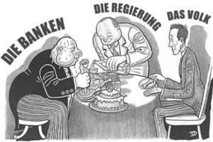 Veränderter Cartoon: Der Banker hat eine andere Nase gezeichnet  bekommen, seine Manschettenknöpfe werden von Davidsternen geziert. Merkmale, die ihn als Juden dastehen lassen - und historische Assoziationen wecken.