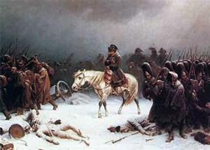 Der geschlagene Napoleon mit seiner demoralisierten Truppe auf dem Rückzug von Moskau (Gemälde von Adolf Northern, 1828-1876).