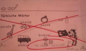 Arbeitsblatt mit türkischen Wörtern.
