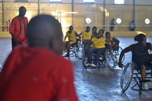 Behindertensportler in Mosambiks zweitgrößter Stadt Beira.