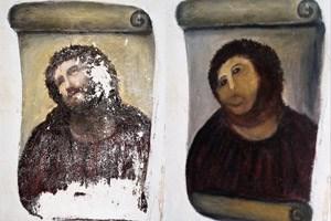 """Links das Original, rechts das """"verbesserte"""" Jesus-Fresko."""