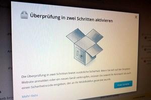 Schnell aktiviert, bietet viel zusätzliche Sicherheit: Die Zwei-Weg-Authentifizierung von Dropbox.