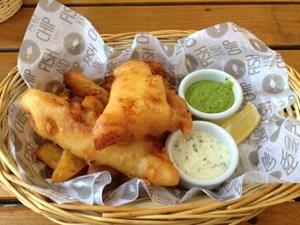 Und hier noch die Fish and Chips auf der Summerstage. Das Fett dürfte halt schon ein bisschen älter gewesen sein.