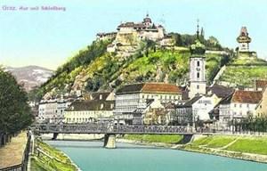 Postkartenansicht von Graz/Gradec von 1913, die sich vom heutigen Stadtbild nicht sehr markant unterscheidet.
