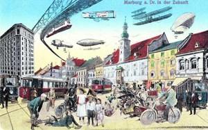 Die Ansichtskarte von 1914 zeigt eine Zukunftsvision von Maribor/Marburg an der Drau in einer Phase der Aufbruchstimmung. Schwebebahn und Tram blieben nur Träume.