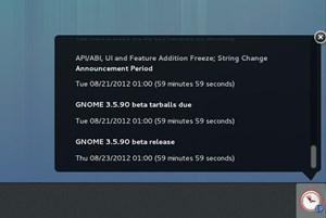Der Benachrichtigungsbereich von GNOME3 hat ein neues Design bekommen.
