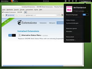 Der openSUSE-GNOME unterscheidet sich nur marginal vom Upstream-Projekt, lediglich eine Erweiterung wird von Haus aus hinzugefügt.