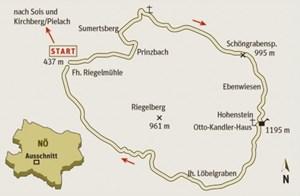 Gesamtgehzeit 5½ Stunden,  Höhendifferenz 800 m. Otto-Kandler-Haus bis 28. Oktober an Samstagen, Sonn- und Feiertagen bis 16 Uhr bewirtschaftet. ÖK25V Blatt 4205-West (Türnitz),  Maßstab 1:25.000; Freytag & Berndt Atlas Wiener Hausberge, Maßstab 1:50.000.