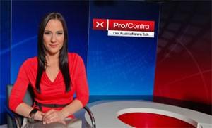"Manuela Raidl im ""AustriaNews Talk""-Studio."