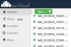 Das Web-Interface von ownCloud (aus einer früheren Version)