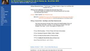 Gebetskongress-Programm von Human Life International am Donnerstag, 6.9.2012 um 13.25 Uhr. Michael Spindelegger und Erwin Pröll werden nicht mehr angekündigt.