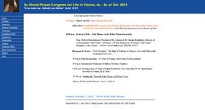 Gebetskongress-Programm von Human Life International am Donnerstag, 6.9.2012 um 13.20 Uhr. Michael Spindelegger und Erwin Pröll werden angekündigt.
