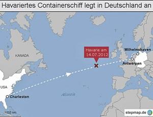 Der havarierte Frachter musste einen weiten Weg zurücklegen, ehe er in einem Hafen landen konnte.