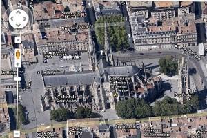 45-Grad-Aufnahme aus Bordeaux, Frankreich.