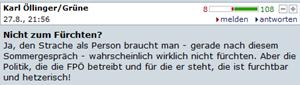 Das beliebteste Posting: Karl Öllinger (Grüne) mit 108 Grün-Bewertungen.