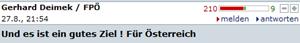 Das unbeliebteste Posting: Gerhard Deimek (FPÖ) mit 210 Rot-Bewertungen.