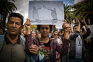 Demo für Meinungsfreiheit und gegen religiöse Denkverbote und Zensur in Tunis im Oktober 2011.