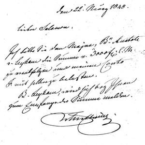 Fürst Metternich, nach der Revolution und seiner Abdankung als Staatskanzler auf der Flucht nach London, bittet Salomon Rothschild um 3000 Gulden: Brief vom 22. März 1848.