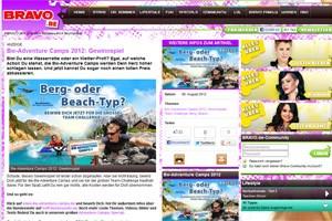 Bravo wirbt auf seiner Website für ein Abenteuer-Camp, das von der deutschen Bundeswehr veranstaltet wird.