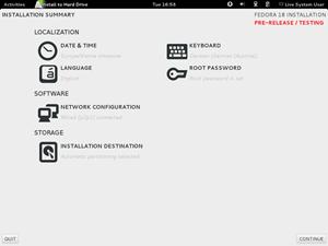 Die Oberfläche des Installers Anaconda wurde für Fedora 18 vollkommen neu gestaltet.