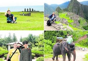 Der Niederösterreicher Erich Winauer hat bisher 110 Länder besucht, unter anderem die zu Chile gehörenden Osterinseln (links oben), Peru (rechts oben), Nordkorea (links unten) und Thailand.Weitere Eindrücke von seiner Reise zeigt eine Ansichtssache.