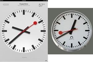 Zum Vergleich: Links der neue iPad-Wecker, rechts das Designer der Schweizer Bahnhofsuhren.