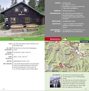 Zu jeder Hütte gibt es detaillierte Beschreibungen mit Adresse und Öffnungszeiten.