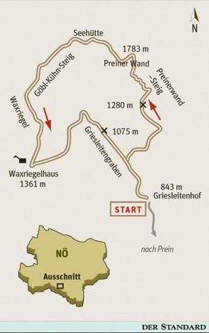ÖK25V Blatt 4212-West (Schneeberg und Rax), Maßstab 15.000; Freytag & Berndt Atlas Wiener Hausberge, Maßstab 1:50.000