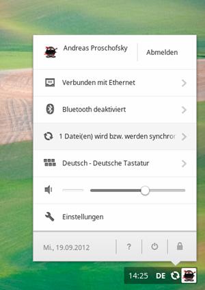 Der Benachrichtungsbereich von Chrome OS über den einige zentrale Einstellungen und Aktion vorgenommen werden können.