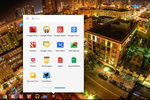 Neben einer Reihe von Lieblingsapps findet sich ein Icon mit dem eine vollständige Anwendungsübersicht sowie eine Suchfunktion aufgerufen werden können.