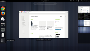 Der Activities Overview wurde aufgeräumt, statt der bisherigen zwei Tabs gibt es nun einen kombinierten Knopf für den Wechsel zwischen Fensterübersicht und Anwendungsliste.