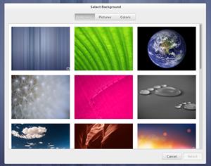 Der neu gestaltete Dialog zur Auswahl des Bildschirmhintergrunds setzt auf große Bilder.