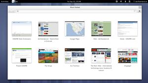 """Der GNOME-Webbrowser Epiphany / Web hat eine """"Speed Dial""""-Ansicht in neuen Tabs spendiert bekommen."""