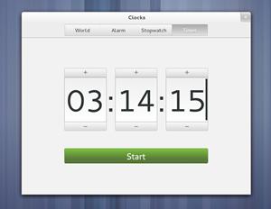 """Derzeit noch ein """"Preview"""": Die neue GNOME-Komponenten """"Clocks"""" mit Weltuhr, Alarm, Stoppuhr und Timer."""