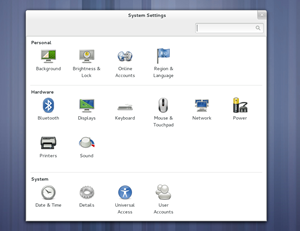 Die Übersicht des GNOME Control Center präsentiert sich jetzt wesentlich aufgeräumter, nutzt größere Icons und eine klarere Kategorisierung.