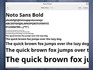 Der GNOME Font Viewer gehört ebenfalls zu jenen Komponenten, die vollständig neu gestaltet wurden. Es gibt eine Vorschau für neue Schriften sowie die Möglichkeit diese gleich auf dem System zu installieren.