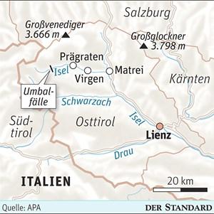 Die obere Isel in Osttirol soll für das umstrittene Kraftwerk bei den Umbalfällen mit Stollen und einem Speichersee verbaut werden.