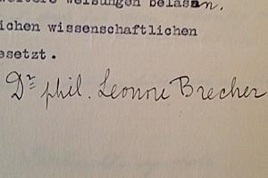 Unterschrift Brechers auf einem Brief, in dem sie am 17. März 1938 ersucht, weiter für das Vivarium tätig sein zu dürfen.
