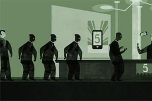 Nokias neue Werbestrategie: iPhone-Fans, die sich anstellen, um viel Geld auf den Tresen zu legen
