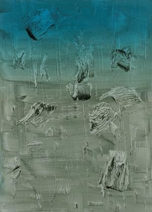 Eine surreale, menschen-leere Landschaft, in der das mit dem Pinsel weggenommene Kolorit Tunnel in andere Bildebenen öffnet: Arbeit ohne Titel (2012) von Florin Kompatscher.
