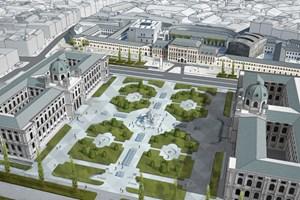 Wehdorn tastet die Gestaltung des Platzes nicht an: Er sieht nur Glaskuben und einen Eingang zum Kulturforum am Ring vor.