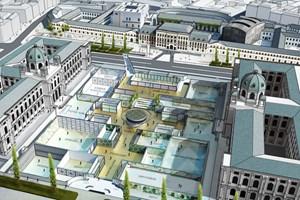 Die unterirdische Erweiterung für das KHM (links) und das NHM: Vogelperspektive auf das von Manfred Wehdorn geplante Museumsforum mit der Anbindung an das MQ im Hintergrund.
