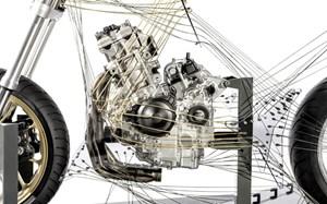 Skulptural inszeniertes Modell für den künftigen Reihenvierzylinder-Motor.