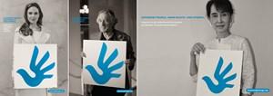 """Die internationale Initiative """"A Logo for Human Rights"""" wurde über die Kreativplattform Jovoto abgewickelt. Angelina Jolie, Robert De Niro und Aung San Suu Kyi (und andere) saßen in der Jury und präsentieren auf Postern das neue Symbol für Menschenrechte."""