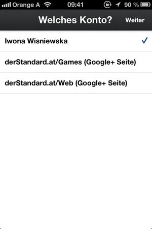 Seitenverwaltung ist für iOS nicht optimal gelöst: Man muss sich ein- und wieder ausloggen, um eine Seite bzw. ein Profil wählen zu können
