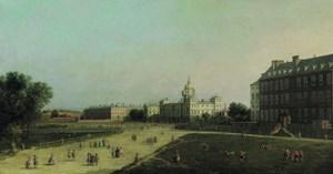 Blick auf The New Horse Guards, den legendären Paradeplatz Londons, vom St. James's Park aus gesehen. Ein durch und durch britisches Motiv, das Canaletto in seinen Londoner Jahren auf Holz malte.
