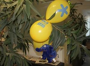 Beim tollkühnen Sprung von Blue Schneckerl gab es Probleme: er hängt noch heute in der Redaktions-Botanik.