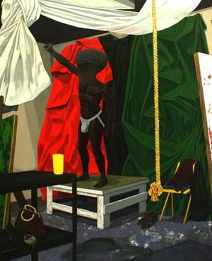 "Symbole schwarzen Selbstbewusstseins in Kerry James Marshalls ""The Academy"", 2012."
