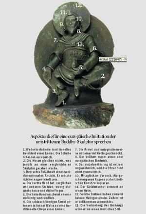 """Laut einem Hamburger Buddhismus-Forscher sprechen einige Merkmale des """"Weltall-Buddha"""" dafür, dass er eine europäische Imitation ist."""