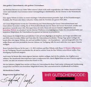 Der Brief von Bürgermeister Nagl an Grazer Unternehmer.